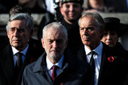 Former Prime Ministers Gordon Brown (L) and Tony Blair (R)  stand behind Labour Leader Jeremy Corbyn (C) during the annual Remembrance Sunday memorial at the Cenotaph on Whitehall on November 11, 2018 in London, England. The armistice ending the First World War between the Allies and Germany was signed at Compiègne, France on eleventh hour of the eleventh day of the eleventh month - 11am on the 11th November 1918. This day is commemorated as Remembrance Day with special attention being paid for this year's centenary.
