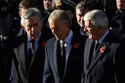 Former British Prime Ministers Gordon Brown,  Tony Blair and John Major during the annual Remembrance Sunday memorial at the Cenotaph on Whitehall on November 11, 2018 in London, England. The armistice ending the First World War between the Allies and Germany was signed at Compiègne, France on eleventh hour of the eleventh day of the eleventh month - 11am on the 11th November 1918. This day is commemorated as Remembrance Day with special attention being paid for this year's centenary.