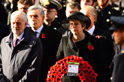 Leader of the Labour Party, Jeremy Corbyn and Prime Minister Theresa May attend the annual Remembrance Sunday memorial on November 11, 2018 in London, England. The armistice ending the First World War between the Allies and Germany was signed at Compiègne, France on eleventh hour of the eleventh day of the eleventh month - 11am on the 11th November 1918. This day is commemorated as Remembrance Day with special attention being paid for this year's centenary.