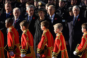 Former British Prime Minister David Cameron, Leader of the Labour Party Jeremy Corbyn, Former British Prime Minister Gordon Brown, British Prime Minister Theresa May and Former British Prime Ministers Tony Blair and John Major during the annual Remembrance Sunday memorial on November 11, 2018 in London, England. The armistice ending the First World War between the Allies and Germany was signed at Compiègne, France on eleventh hour of the eleventh day of the eleventh month - 11am on the 11th November 1918. This day is commemorated as Remembrance Day with special attention being paid for this year's centenary.