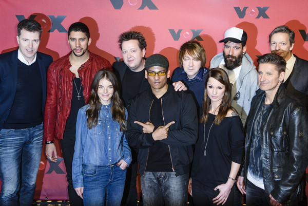 'Sing meinen Song' Photocall [sing meinen song,photocall,tv show,social group,youth,event,musical ensemble,team,yvonne catterfeld,xavier naidoo,andreas bourani,bernd reichart,front row,row,photocall]