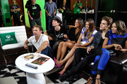 (L-R) 'The Vampire Diaries' actors Matthew Davis, Ian Somerhalder, TV personality Rocsi, actors Nina Dobrev, Paul Wesley and Kat Graham chat with fans over Skype for Xbox One in the Microsoft VIP Lounge during Comic-Con on July 26, 2014 in San Diego, California.