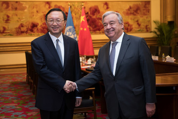 Yang Jiechi Secretary-General Of The United Nations Antonio Guterres Visits China