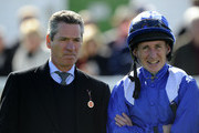 Richard Hills with Paul Hanagan pose at Yarmouth racecourse on September 18, 2013 in Yarmouth, England.