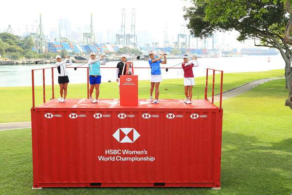 HSBC Women's Champions - Previews [hsbc womens champions - previews,sports,grass,track and field athletics,technology,recreation,athletics,stage equipment,podium,high jump,tiffany chan,lexi thompson,shanshan feng,l-r,south korea,hong kong,united states,inbee park,china]