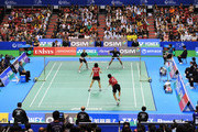 Hung Ling Chen and Wen Hsing Cheng of Chinese Taipei compete in the Mixed Doubles final match against Joachim Fischer Nielsen and Christinna Pedersen of Denmark during day five of the Yonex Open Japan 2011 at Tokyo Metropolitan Gymnasium on September 25, 2011 in Tokyo, Japan.