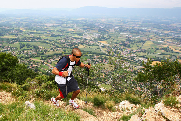 Reebok ambassador Lewis Hamilton of Great Britain goes trekking up a 1200 metres high mountain near his Geneva home as part of his training programme in advance of the British Grand Prix at Silverstone on June 15, 2009 near Geneva, Switzerland. During the 40 minute trek his heart rate will reach up to 180 beats per minute once he reaches the summit.