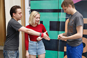 """(L-R) Actors Kieran Culkin, Tavi Gevinson and Michael Cera attend the """"This Is Our Youth"""" Cast Photo Call at Cort Theatre on August 14, 2014 in New York City."""