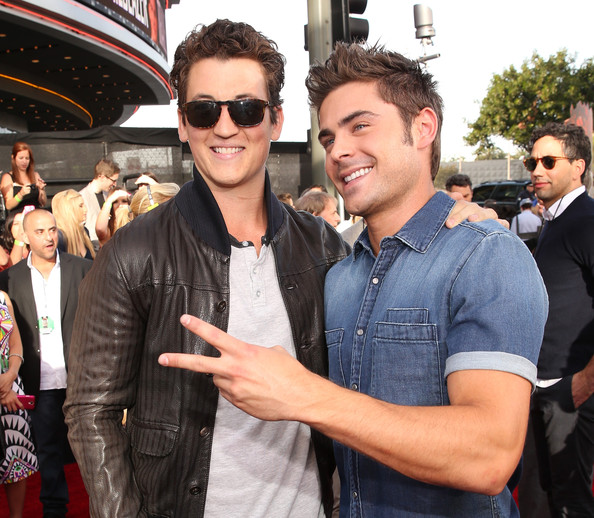 Arrivals at the MTV Movie Awards — Part 3 [red carpet,eyewear,event,sunglasses,cool,premiere,jeans,textile,vision care,glasses,jacket,miles teller,zac efron,mtv movie awards,california,los angeles,nokia theatre l.a. live]