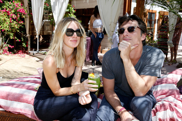 The Retreat Palm Springs 2016  - Day 1 [zach braff,janell shirtcliff,r,vacation,eyewear,event,drink,leisure,summer,party,drinking,sitting,sunglasses,retreat palm springs,the retreat palm springs,palm springs,california]