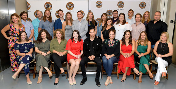 Country Music Hall Of Fame And Museum Hosts Nightfall At The Hall With Devin Dawson [social group,team,event,youth,community,family taking photos together,family pictures,devin dawson,will overton,patrick thomas,brenden oliver,kara lusk,kristen beckstead,johnny ellett,back row l-r,hall,country music hall of fame and museum hosts nightfall]