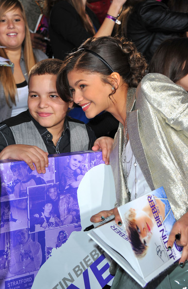 "Zendaya Coleman Actress Zendaya Coleman with fan at the premiere of Paramount Pictures' ""Justin Bieber: Never Say Never"" held at Nokia Theater L.A. Live on February 8, 2011 in Los Angeles, California."