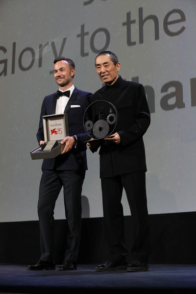 Jaeger-LeCoultre Glory To The Filmmaker Award: 75th Venice Film Festival [glory to the filmmaker award: 75th venice film festival,award,award ceremony,event,technology,electronic device,white-collar worker,brand,competition,zhang yimou,chief marketing officer,nicolas siriez,reverso,sala grande,chinese,venice,jaeger-lecoultre,venice international film festival]