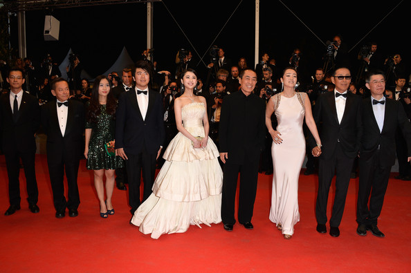 'Coming Home' Premieres at Cannes [red carpet,carpet,event,flooring,premiere,fashion,dress,gown,ceremony,formal wear,zhang huiwen,chen daoming,zhang zhao,zhang yimou,gong li,gui lai,coming home premieres,l-r,cannes,premiere]