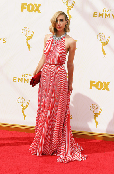67th Annual Primetime Emmy Awards - Arrivals [red carpet,clothing,fashion model,carpet,dress,flooring,gown,shoulder,hairstyle,fashion,arrivals,zoe kazan,microsoft theater,los angeles,california,primetime emmy awards]