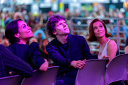 """Actors Rosario Dawson, Jesse Eisenberg and Zoey Deutch on stage at a """"Zombieland 2"""" Panel and Surprise Screening at Los Angeles Convention Center on October 12, 2019 in Los Angeles, California."""