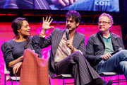 "Rosario Dawson, Avan Jogia and Paul Wernick on stage at a ""Zombieland 2"" Panel and Surprise Screening at Los Angeles Convention Center on October 12, 2019 in Los Angeles, California."