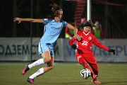 Jill Scott of Manchester City and Alena Nurgalieva of Zvezda 2005 in action during the UEFA Womens Champions League match between Zvezda 2005 and Manchester City Ladies at Zvezda Stadium on October 12, 2016 in Perm, Russia.