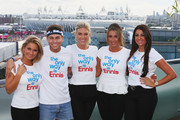 (FREE FOR EDITORIAL USE) (L-R) Sam Faiers, Joey Essex, Frankie Essex, Lauren Goodger and Cara Kilbey of 'The only way is Essex' at the adidas Olympic Media Lounge at Westfield Stratford City on August 4, 2012 in London, England.
