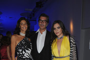 (NO ITALY SALES UNTIL OCTOBER 26, 2011)  Marco Maccapani (C) and Teresa Missoni (R)  attend amfAR MILANO 2011 at La Permanente on September 23, 2011 in Milan, Italy.