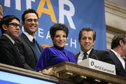(L-R) Designer Mondo Guerra, amfAR Ambassadors Cheyenne Jackson and Liza Minnelli and amfAR Chairman Kenneth Cole pose as they ring the opening bell at the New York Stock Exchange in recognition of December 1st's World AIDS Day on November 30, 2010 in New York City.