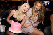 (L-R) Elsa Hosk and Romee Strijd attend boohoo x All That Glitters Launch Party on November 07, 2019 in Los Angeles, California.