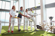 Elina Svitolina of Ukraine, Former Wimbledon Champion Pat Cash, Monica Puig of Puerto Rico and Tommy Haas of Germany play tennis during an ellesse photo call at The View from The Shard on June 25, 2015 in London, England. ellese created an Astroturf tennis court 776ft (236.5 metres) up in the air on Level 69 of The Shard, which is the tallest building in Western Europe.