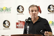 Head Coach Jimbo Fisher of the Florida State Seminoles speaks with the media before the start of the 2017 fall football practice on August 1, 2017 at Moore Athletic Center on the campus Florida State University in Tallahassee, Florida.