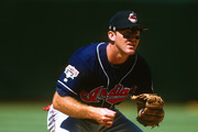 Jim Thome #25 of the Cleveland Indians fields during an MLB game against the Oakland Athletics at he Oakland-Alameda County Colosseum. Thome played for the Indians from 1991-2002.