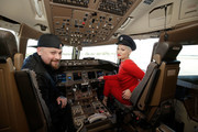 Singer Jessie J and Benji Madden pose in the cockpit of a British Airways 777-300 on June 30, 2016 in Sydney, Australia.The singer-songwriter played an acoustic set for VIPs and competition winners to celebrate the arrival of summer in the UK.