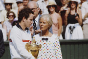 John McEnroe of the United States receives the trophy from the Duchess of Kent after defeating Jimmy Connors during the Men's Singles Final match at the Wimbledon Lawn Tennis Championship on 8 July 1984 at the All England Lawn Tennis and Croquet Club in Wimbledon in London, England.