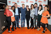 Doug Cohn, (3rd  L) Cody Simpson, (4th L) Sharon Dastur (4th R) and Owen Grover (3rd R) pose with Dinah Jane Hansen, Normani Kordei Hamilton, Lauren Jauregui, Camila Cabello and Ally Brooke Hernandez of Fifth Harmony at iHeartRadio's Nick Radio launch party on October 24, 2013 in New York City.