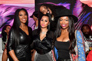 "(L-R) Kenya Moore, Tammy Rivera, Kandi Burruss, and Waka Flocka attend the premiere of ""Waka & Tammy: What The Flocka"" at Republic on March 10, 2020 in Atlanta, Georgia."
