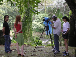Setting up a scene in a National forest outside of Havana.