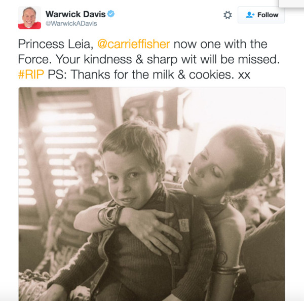 Warwick Davis Carrie Fisher