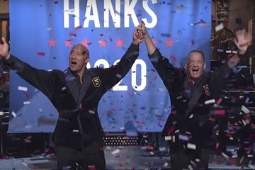Dwayne 'The Rock' Johnson 'Announced' He Was Running for President With Tom Hanks on 'SNL,' and Fans Are All About It