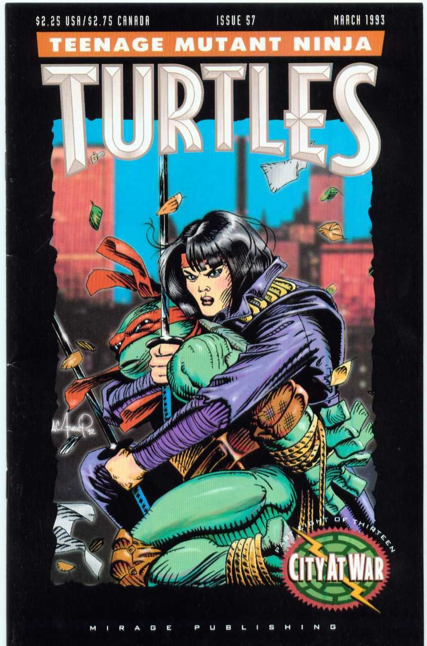 Karai on the cover of Issue 57 of 'Teenage Mutant Ninja Turtles' in March, 1993.