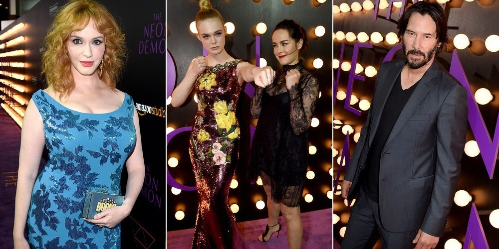 The stars of The Neon Demon, from left: Christina Hendricks, Elle Fanning, Jena Malone, and Keanu Reeves. Click here for more premiere photos (Getty).
