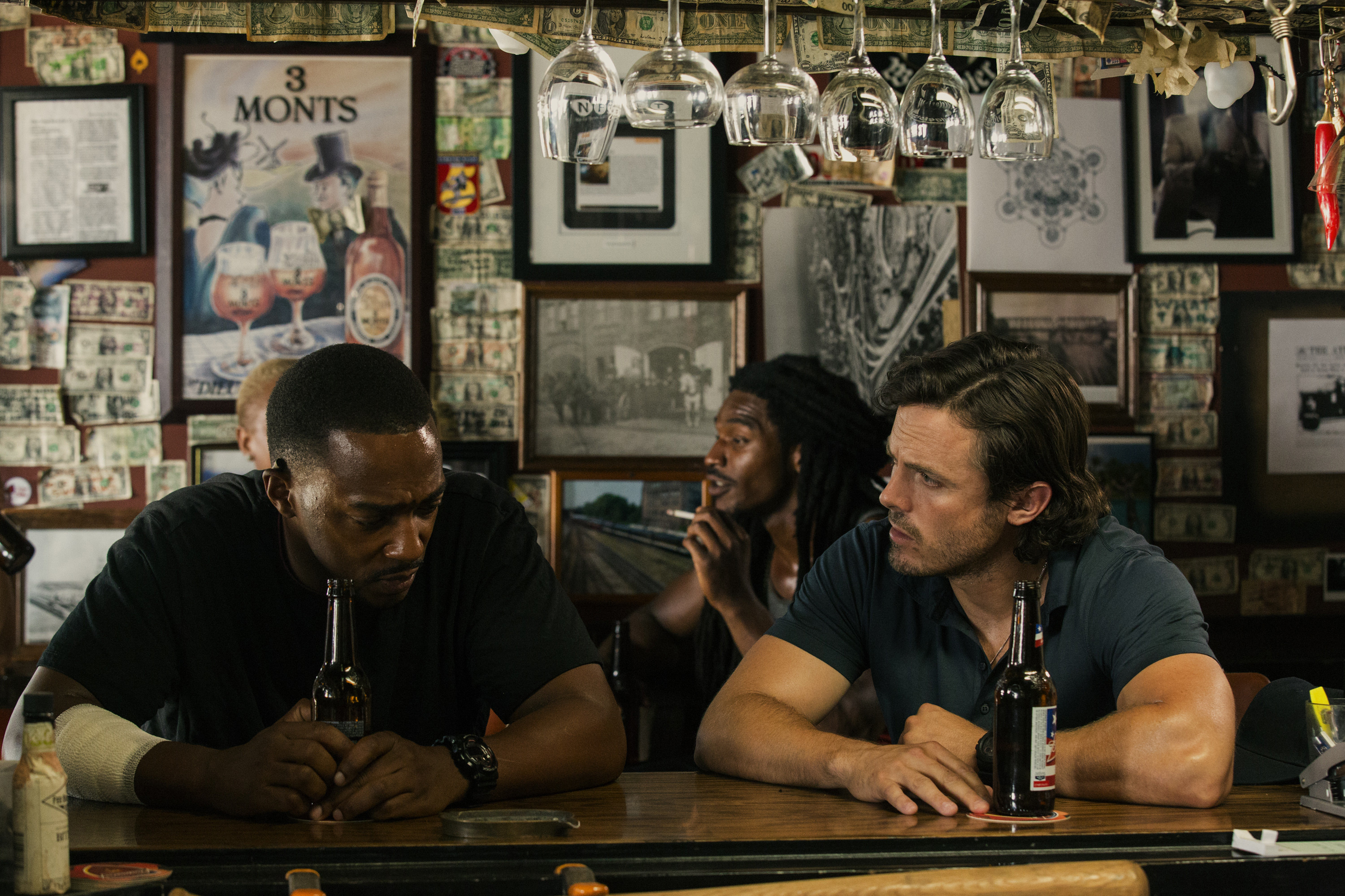 Anthony Mackie and Casey Affleck in Triple 9. (Open Road)