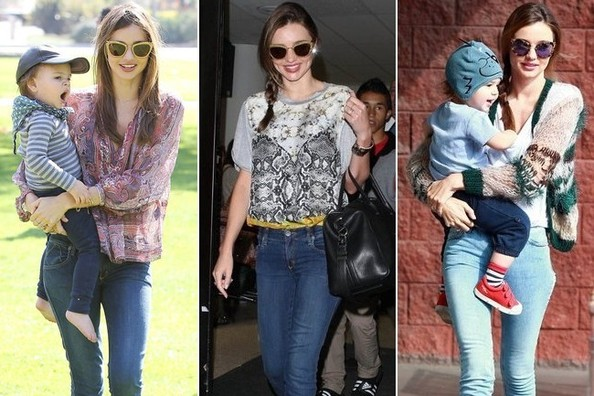Miranda Kerr's Cute and Comfortable Mom Style
