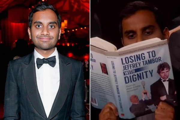 Aziz Ansari Sports 'Losing to Jeffrey Tambor with Dignity' Book at Golden Globes, Is the Best Loser You Know