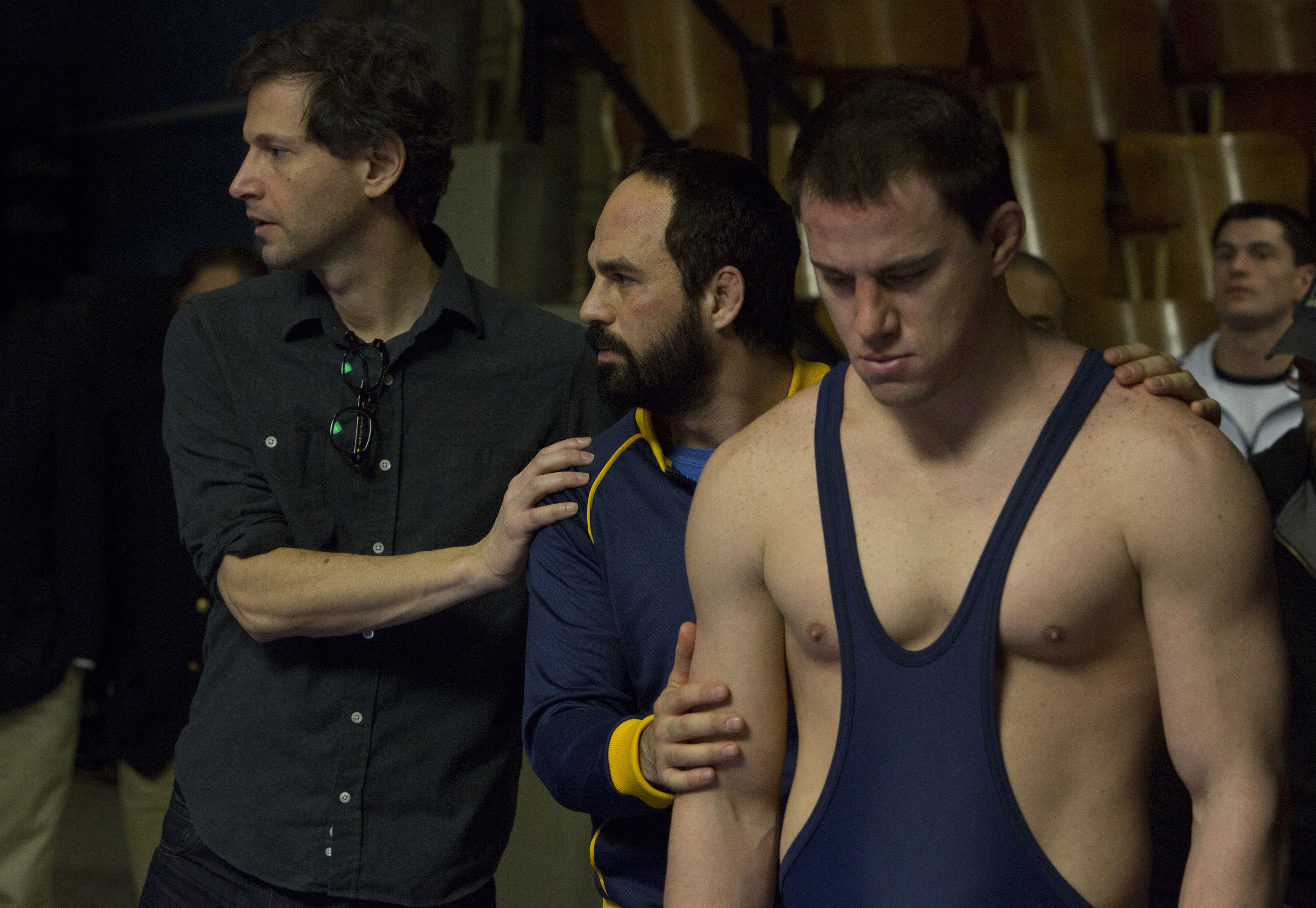 Bennett Miller, Mark Ruffalo, and Channing Tatum on the set of Foxcatcher. (Sony Pictures Classics)