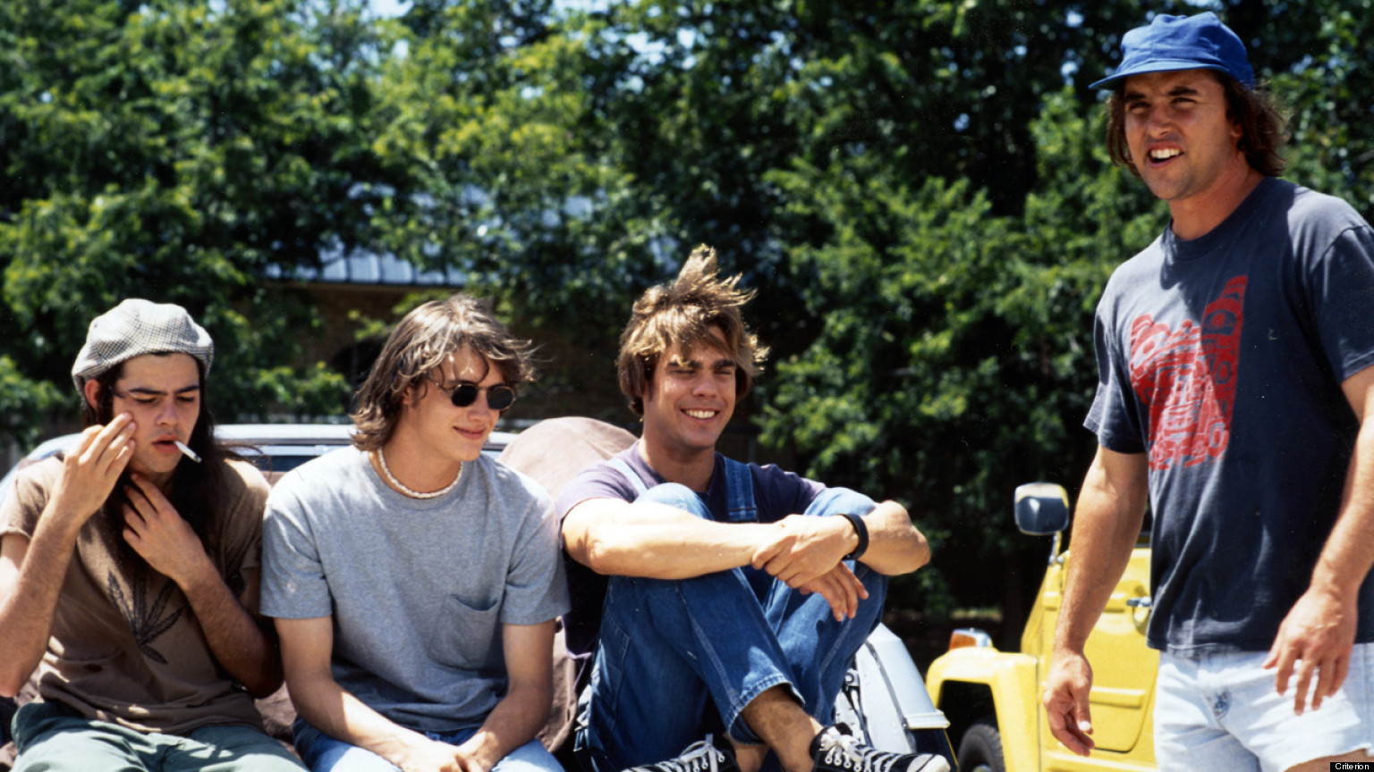Director Richard Linklater with the boys on set. (Gramercy)