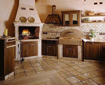 Old world french cottage charming cottage style kitchens for Old style cabins