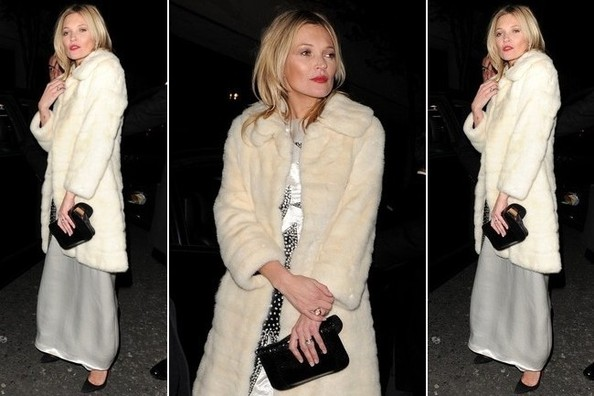Wondering What to Wear Over Your Swanky Holiday Party Dress? Try a Faux Fur Like Kate Moss
