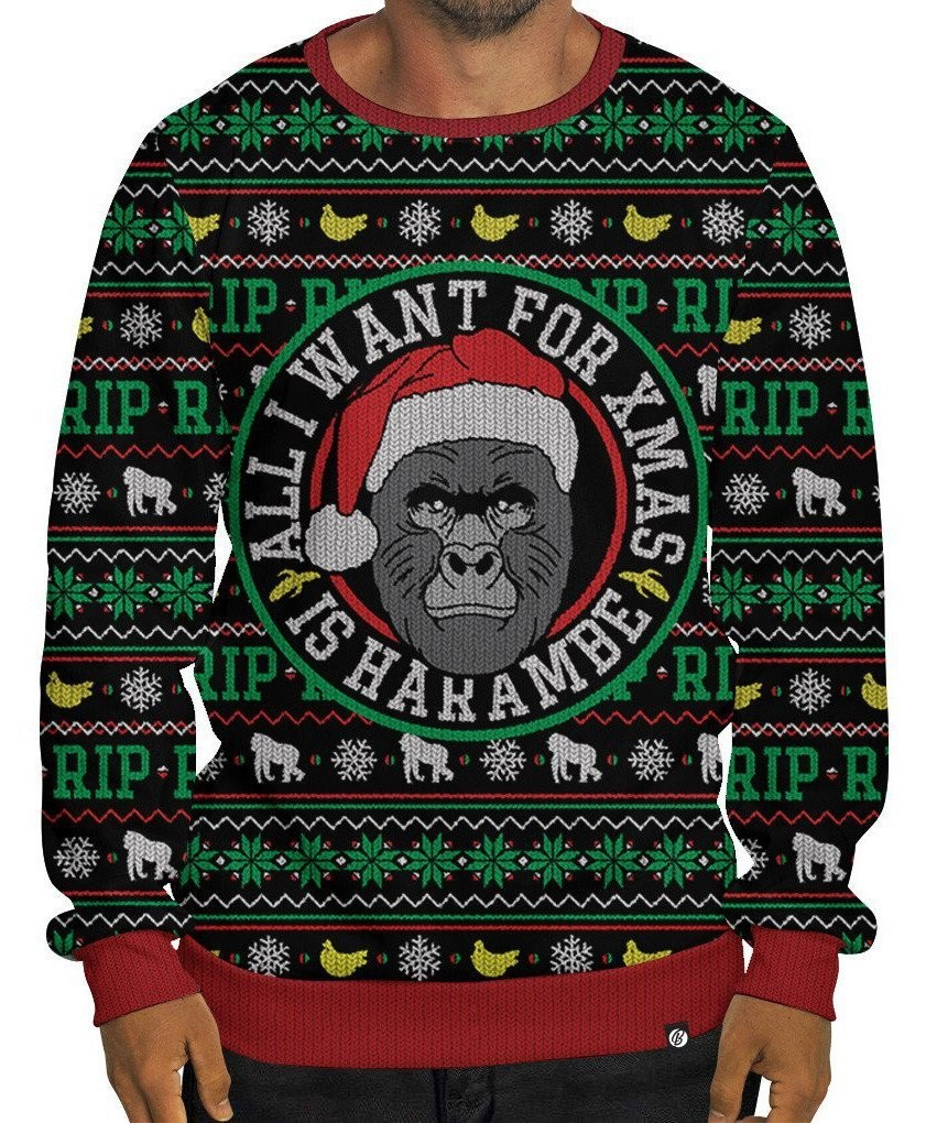 get your needlessly macabre harambe christmas sweaters before they sell out