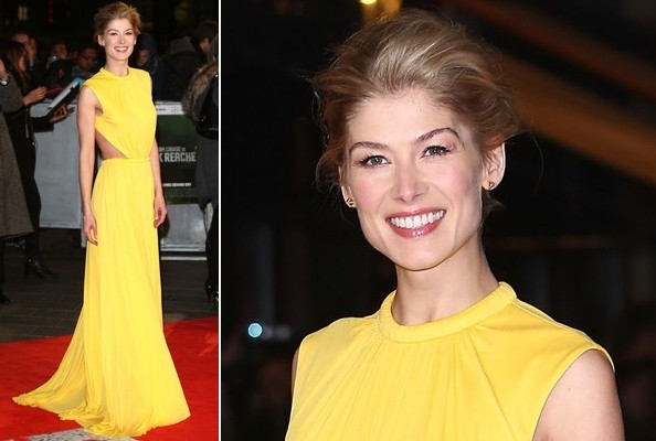 Rosamund Pike's Bright Yellow McQueen Cutouts