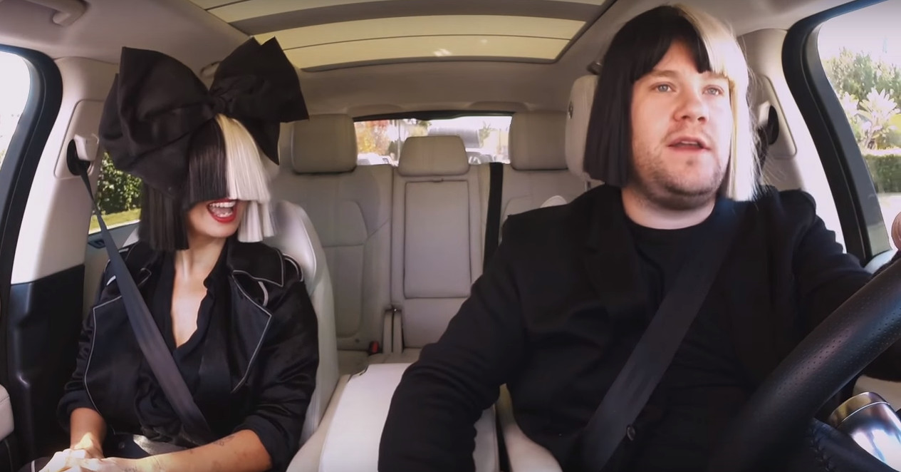 James corden sings chandelier has heart to heart with sia during james corden sings chandelier has heart to heart with sia during carpool karaoke aloadofball Image collections