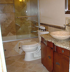 looking for a paint color to match natural stone bathroom