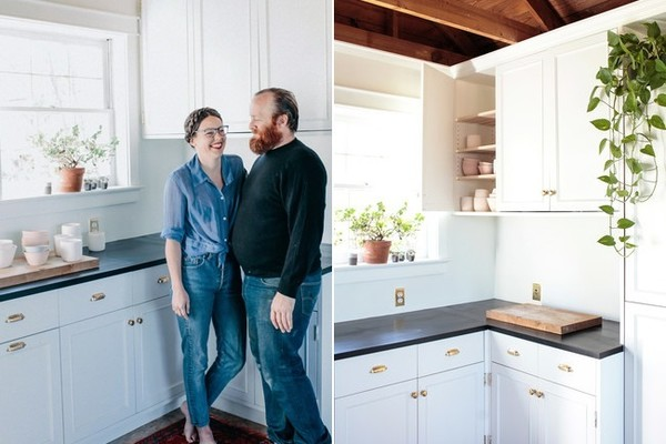 Homeowners Jessie Pickren and Tristan Warner in the kitchen space of their handcrafted cottage by the Cumberland River.
